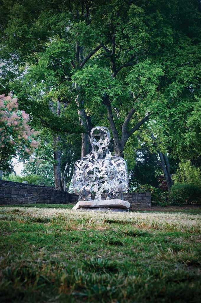 Thoughts, 2013, Stainless steel and stone, 10' x 7' x 9'. Photograph by Jerry Atnip