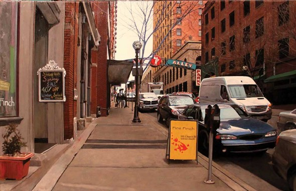 """Printer's Alley, 2015, Oil on canvas, 26"""" x 40"""""""