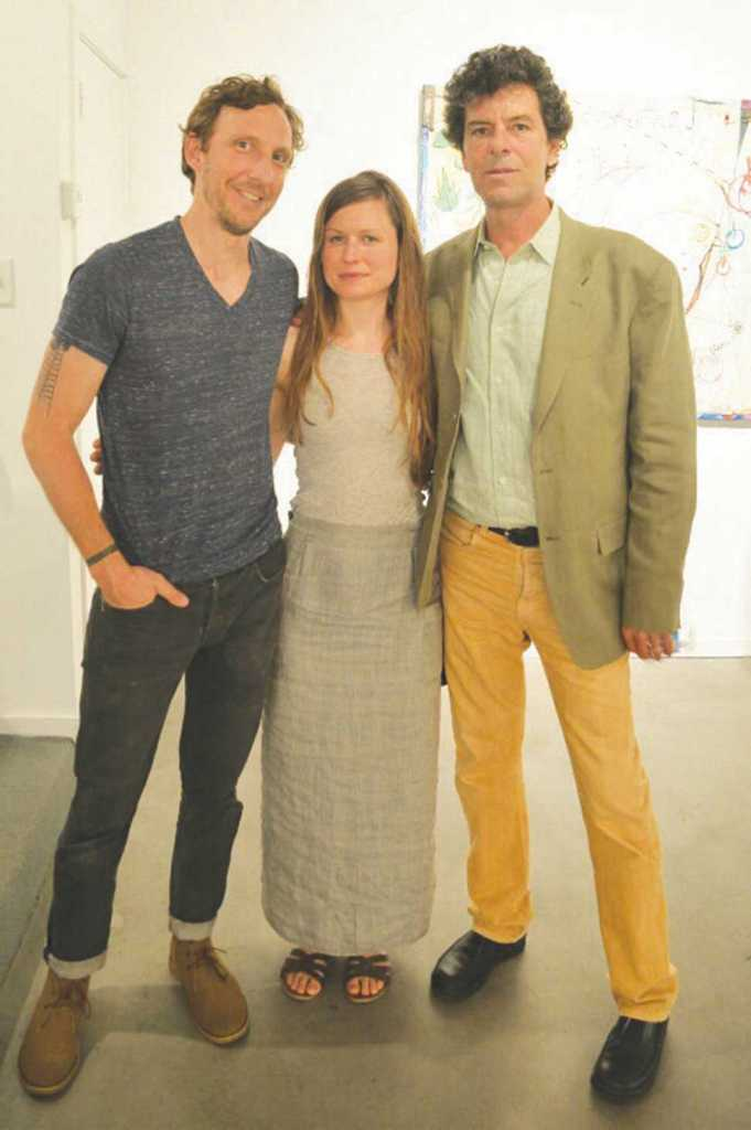 Shane Darwent, Elspeth Schulze, and Andrew Saftel at Cumberland Gallery. Photograph by Daniel Lopez