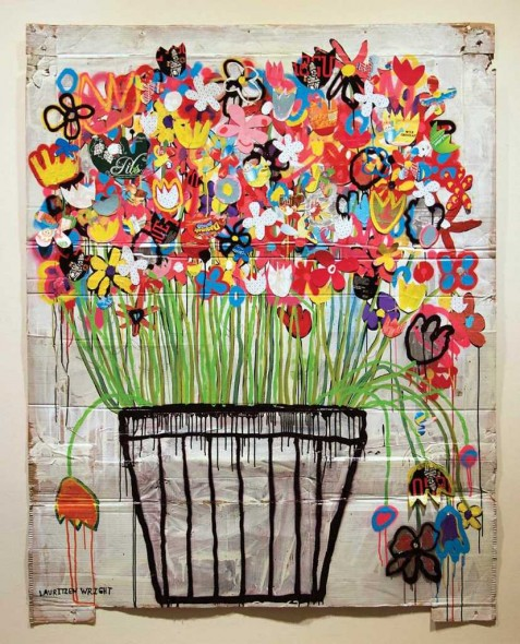 "Tad Lauritzen Wright, Bloom, Mixed media on cardboard, 71"" x 56"""