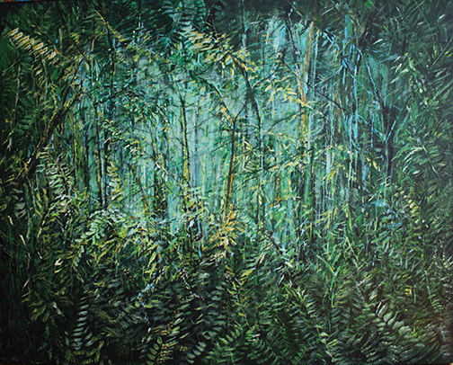 "Rain forest, Acrylic on canvas, 48"" x 60"""