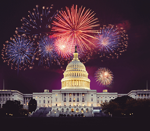 Fireworks over the Capitol. Courtesy of Capital Concerts/Keith Lamond via Shutterstock