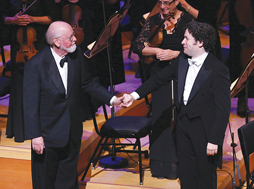 John Williams (left) and Gustavo Dudamel. Courtesy of Mathew Imaging