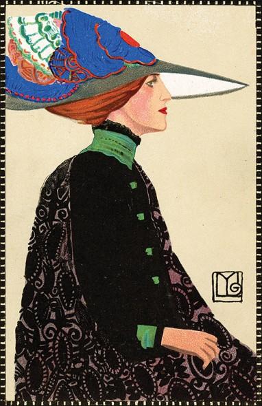 Maria Likarz, Fashion, Postcard, 1911, Chromolithograph
