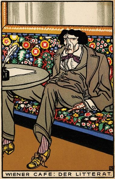 Moriz Jung, Viennese Café: The Man of Letters, 1911, Chromolithograph