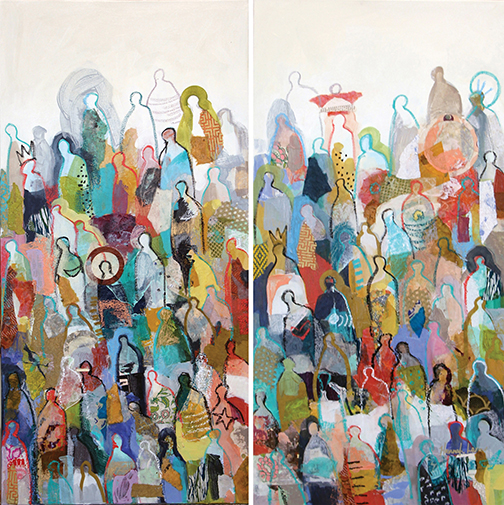"Crowd Series Diptych, Mixed media, 36"" x 8"" each"