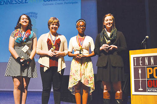 The 2015 State Poetry Out Loud Winners, L to R: Marissa Corleone, Grace Whitten, Brittany Thompson and Stephanie Bennett