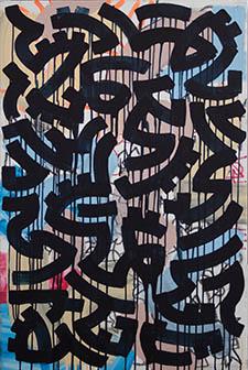 "Alic Daniel, Painting with Yeti, 2014, Mixed media on canvas, 30"" x 24"""