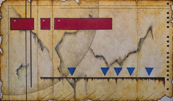 "Chip Herbert, Ecliptic Feedback, Mixed media on canvas, 36"" x 53"""