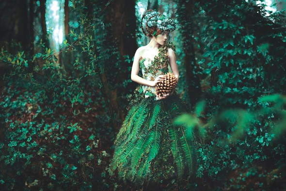 "Kindra Nikole, The Forest's Secret, Mixed media: photography, digital illustration, handmade props and costumes on maple wood panels and glazed with hand-lacquered resin, 24"" x 36"""