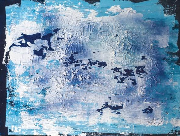"Overhead View of the Edge, Acrylic, gravel, spray paint, 30"" x 40"""