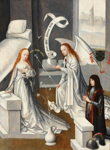 "Master of the Virgo inter Virgines, Annunciation with García Álvarez de Toledo, First Duke of Alba, c. 1485, Oil on panel, 36"" x 27"""