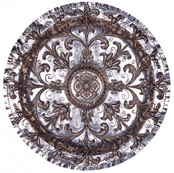 """Mexican tray, 17th century, Silver, 22"""" x 22"""" x 2"""""""