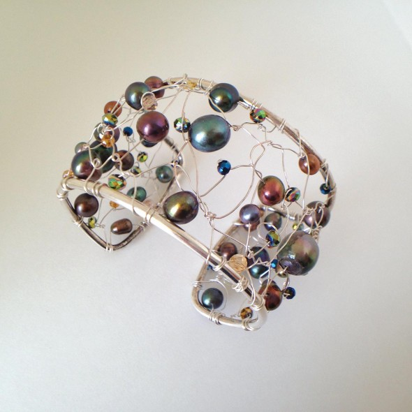 Multi-color pearl wire bracelet, sculpted silver wire, multiple color freshwater baroque pearls, and crystal beads