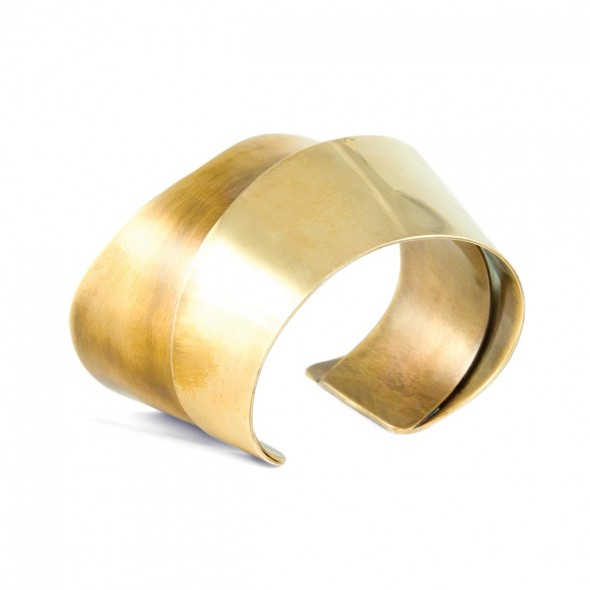 "Double Cuff: Handcrafted in bronze, 2"" wide"