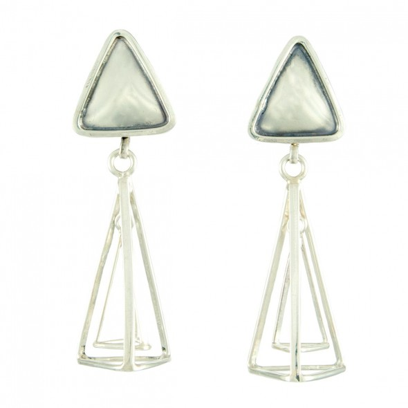"Triangle Chime Earrings: Handcrafted in sterling silver, 1"" x 1"" x 3"""