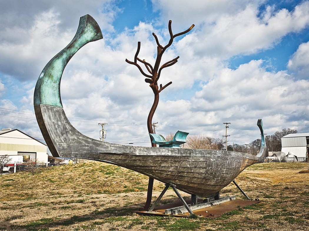 Roger Colombik, Some Waves Spark Stone, 2004, Steel, bronze and aluminum, 13' x 30' x 8'