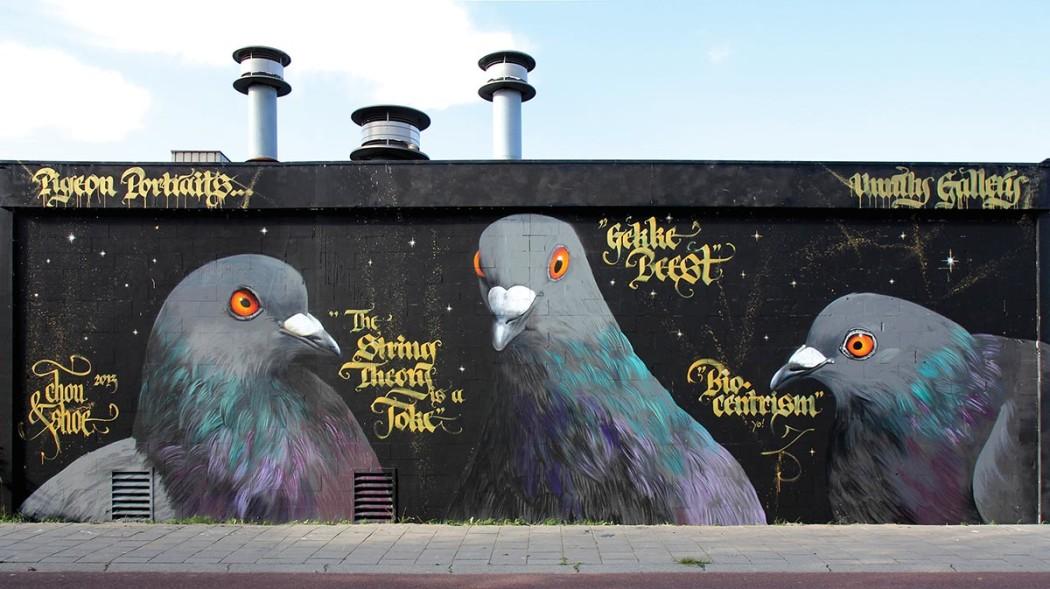 Adele pigeon portraits mural