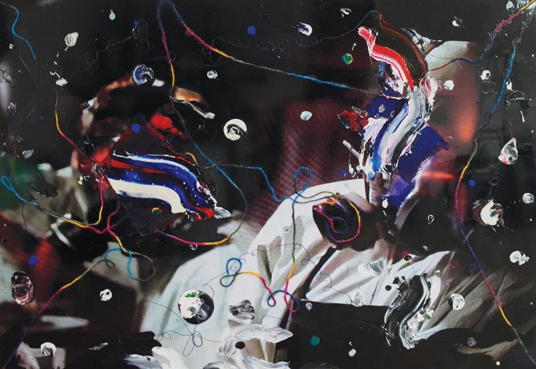 """Connected, 2015, Mixed media on aluminum panel, 58"""" X 80"""""""