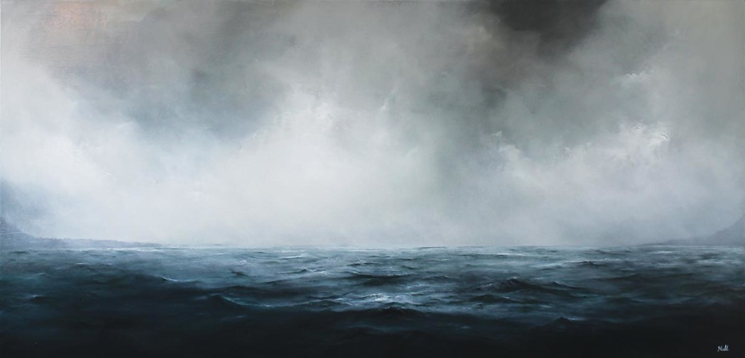 "Facing the Ledge, 2014, Oil on panel, 23""x 48"""