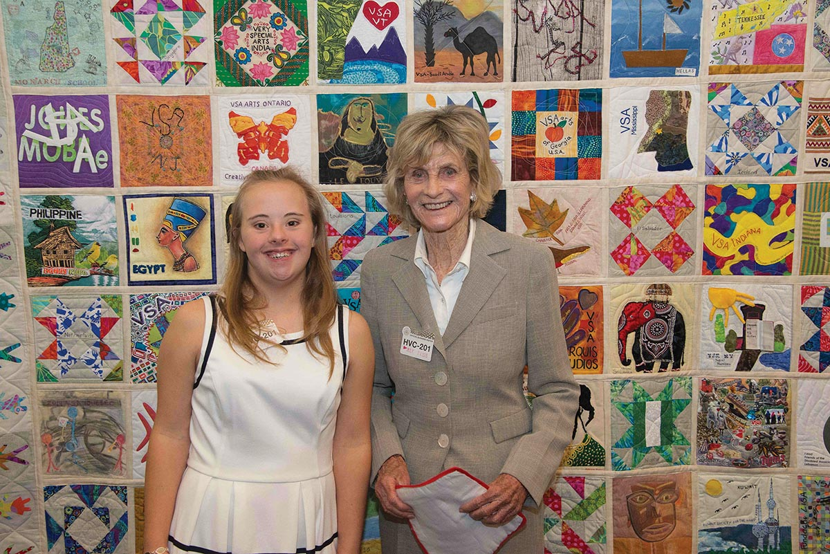 Meghan Maynard with Ambassador Jean Kennedy Smith when VSA's international quilt was accepted into the Arts in Embassy Program in Washington, DC. Photograph by Joanne Amos