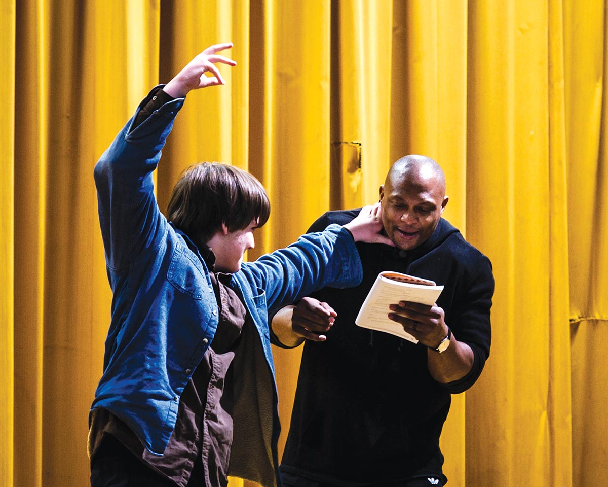 Eddie George's visit to Rose Park Magnet Middle School. Photograph by Mimosa Arts.