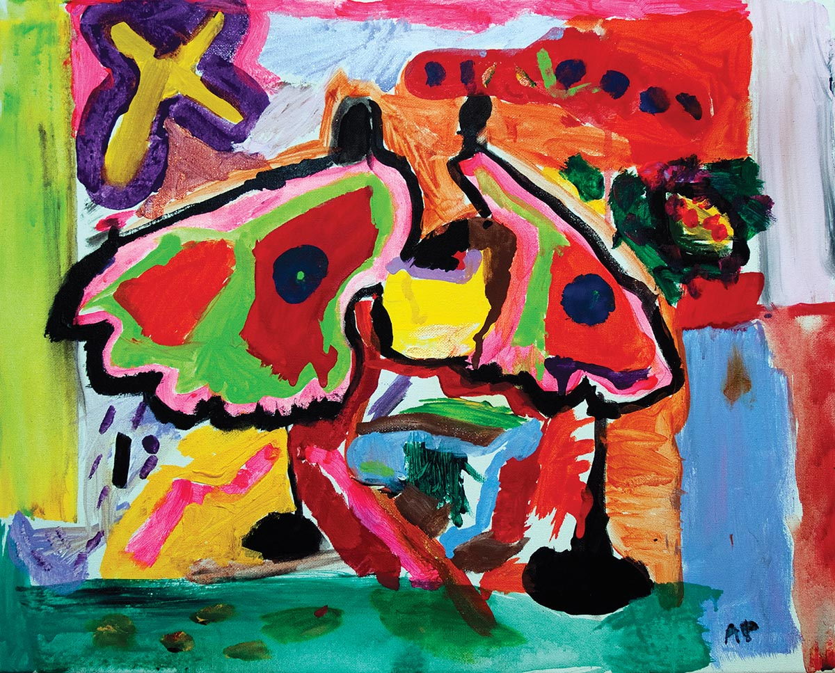 """Abstract Butterfly, Five years old, Acrylic on canvas, 16"""" x 20"""""""