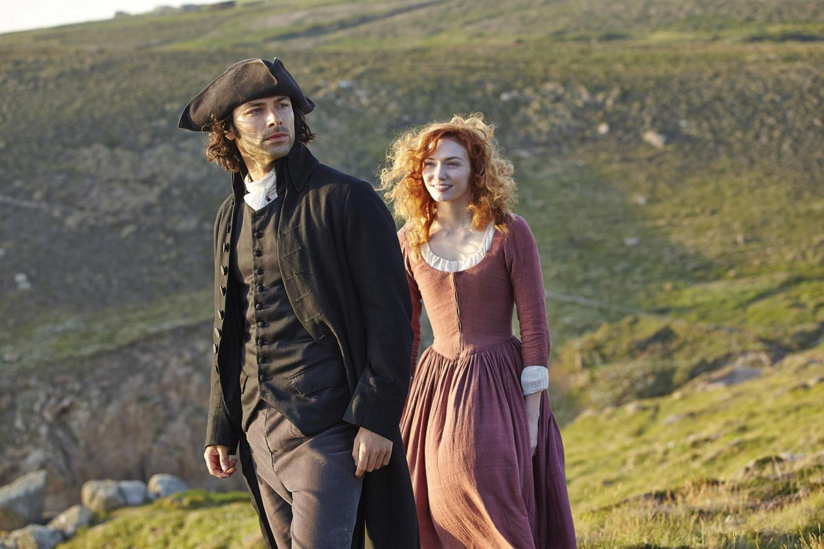 Captain Ross Poldark (Aidan Turner) and Demelza (Eleanor Tomlinson). Photograph courtesy © ITV plc (ITV Global Entertainment Ltd)