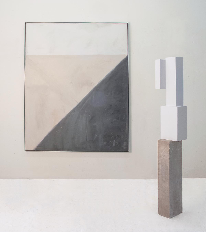"Modular Gray & Flesh, 2016, Oil on canvas, 64"" x 52"" #1331-3d, 2016, Metal, limestone and paint, 59"" x 8"" x 9"""